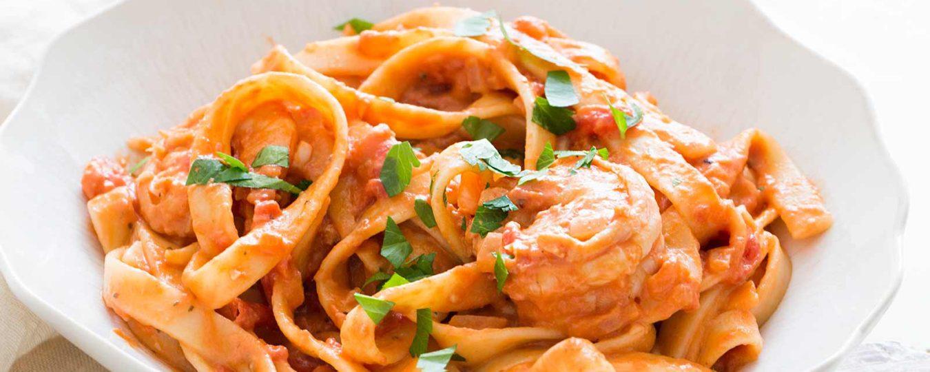 Penne alla vodka with shrimp